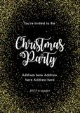 Weihnachtsfesteinladungskarte, Schablone Schwarzes mit goldenen Konfettis und Beschriftung lizenzfreie abbildung