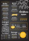Weihnachtsfesteinladungsrestaurant Lebensmittelflieger Stockbild