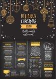 Weihnachtsfesteinladungsrestaurant Lebensmittelflieger Stockfotos