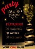 Weihnachtsfesteinladungsschablone mit dem Weihnachtsbaum gemacht vom Band Hintergrund des neuen Jahres mit goldenem Funkeln Vekto lizenzfreie abbildung