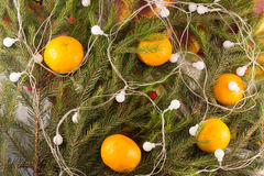 Weihnachtsfestliche Dekoration von Tannenzweigen, Girlande, Tangerinen Stockfotos