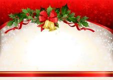 Weihnachtsfestlicher Hintergrund mit Glocken Lizenzfreies Stockfoto