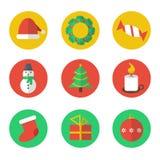 Weihnachtsflache Designikonen eingestellt Stockfoto