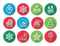 Weihnachtsflache Designikonen - Weihnachtsbaum, Engel, Schneeflocke Stockbild
