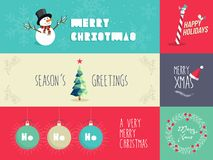 Weihnachtsflache Designillustrationen eingestellt Lizenzfreie Stockfotografie