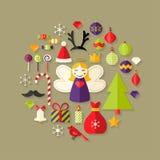 Weihnachtsflache Ikonen eingestellt über hellbraunes Stockbild