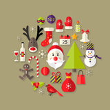Weihnachtsflache Ikonen eingestellt mit Santa Claus Stockbilder