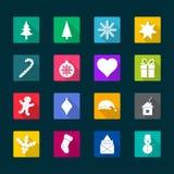 Weihnachtsflache Ikonen, Illustration Lizenzfreie Stockbilder