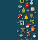 Weihnachtsflache Ikonen mit langen Schatten Lizenzfreies Stockfoto