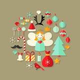 Weihnachtsflache Ikonen-netter Satz über hellbraunem lizenzfreie abbildung