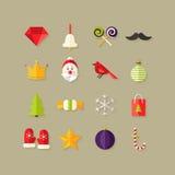 Weihnachtsflache Ikonen stellten 1 ein stock abbildung