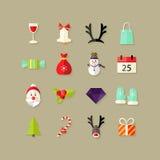 Weihnachtsflache Ikonen stellten 2 ein Lizenzfreies Stockbild