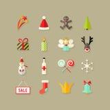 Weihnachtsflache Ikonen stellten 3 ein Lizenzfreie Stockbilder