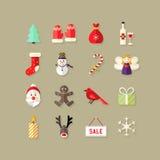 Weihnachtsflache Ikonen stellten 4 ein Lizenzfreie Stockfotografie