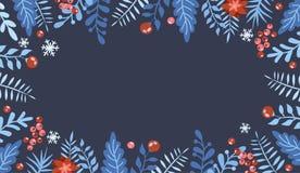 Weihnachtsflacher gelegter Entwurf mit Geschenkboxen Weihnachts- und des neuen Jahreselement, Plakat für Ihren Entwurf Groß für G stock abbildung