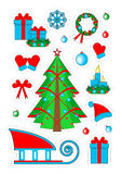Weihnachtsfleckenausweise, Aufkleber Stockfotos