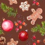 Weihnachtsflitter, Ingwerbrotplätzchen, Weihnachtsbaumaste und rote Beeren Nahtloses Muster watercolor stock abbildung