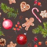 Weihnachtsflitter, Ingwerbrotplätzchen, Weihnachtsbaumaste und rote Beeren Nahtloses Muster watercolor vektor abbildung