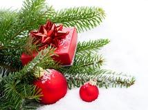 Weihnachtsflitter mit Kopienraum Stockfotos