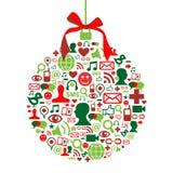 Weihnachtsflitter mit Sozialmediaikonen Lizenzfreies Stockbild