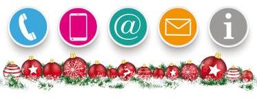 Weihnachtsflitter-Schlagzeilen-Schnee-Fahnen-Kontakt-Ikonen stock abbildung
