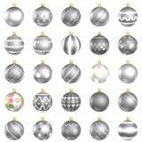 Weihnachtsflitter-Silbersatz auf weißem Hintergrund lizenzfreie abbildung