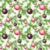 Weihnachtsflitter, Tannenbaumzweige Nahtloses Muster für Weihnachtsauslegung watercolor vektor abbildung