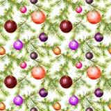Weihnachtsflitter, Tannenbaumzweige Nahtloses Muster für Weihnachtsauslegung watercolor stock abbildung