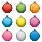 Weihnachtsflitter, verschiedene Farben und Muster, lizenzfreie abbildung