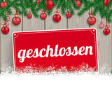 Weihnachtsflitter-Zweig-Schnee-Holz Geschlossen Stockbild
