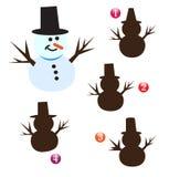 Weihnachtsformspiel: Schneemann Lizenzfreie Stockfotos