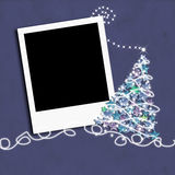 Weihnachtsfotorahmen mit Weihnachtsbaum Stockfotos