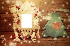 Weihnachtsfotoweinlesefoto-Rahmenkarte Lizenzfreie Stockbilder