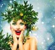 Weihnachtsfrau Stockbild