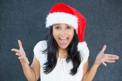 Weihnachtsfrau aufgeregt lizenzfreie stockbilder