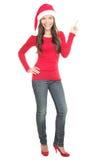 Weihnachtsfrau, die auf Exemplarplatz zeigt Lizenzfreies Stockfoto