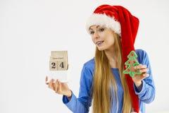 Weihnachtsfrau, die Kalender und Baum hält Stockbild
