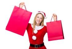Weihnachtsfrau heben oben mit Einkaufstasche an Lizenzfreie Stockfotografie
