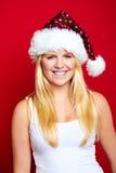 Weihnachtsfrau lächelt Stockfotografie