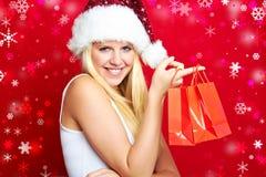 Weihnachtsfrau lächelt Lizenzfreies Stockfoto