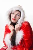 Weihnachtsfrau mit Kragen Lizenzfreies Stockfoto