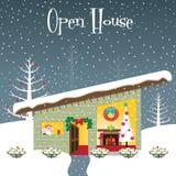 Weihnachtsgeöffnetes Haus Stockfoto