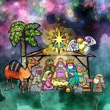 Weihnachtsgeburt christi Watercolour-Szene Lizenzfreie Stockfotos