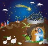 WeihnachtsGeburt Christiszene Abstraktes modernes religiöses illus Lizenzfreies Stockfoto