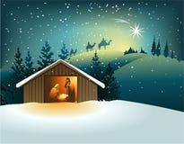 WeihnachtsGeburt Christiszene mit heiliger Familie vektor abbildung