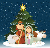 WeihnachtsGeburt Christiszene mit heiliger Familie stock abbildung
