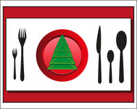 Weihnachtsgedeck Tischbesteck Lizenzfreie Stockbilder