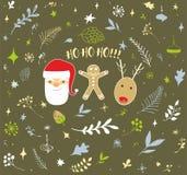 Weihnachtsgekritzel-Designsatz Lizenzfreies Stockfoto