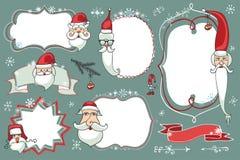 Weihnachtsgekritzel eingestellt Ausweise, Aufkleber mit Sankt Lizenzfreie Stockbilder
