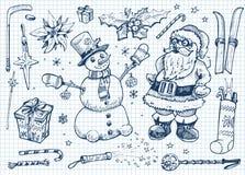 Weihnachtsgekritzelset Lizenzfreies Stockbild